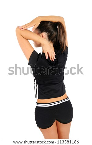 Isolated brown hair fitness woman