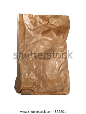 Isolated brown paperbag on white background with clipping path
