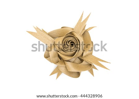 Isolated Brown Rose Flower Paper Ribbon on the White Background / Eco Friendly Recycle Material from Nature Wood for Decoration Box,Card,Wallpaper - stock photo