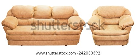 Isolated brown sofa on white background. Red couch proper for furniture design. - stock photo