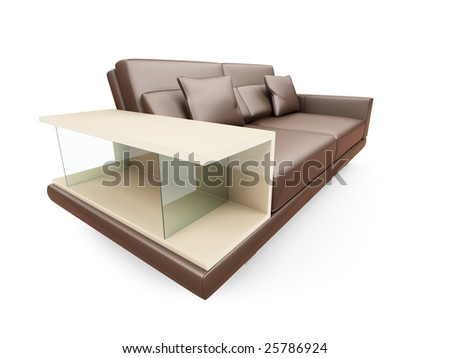 isolated brown sofa with glass on a white background