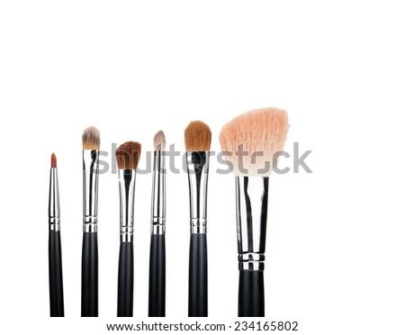 Isolated brush set makeup - stock photo
