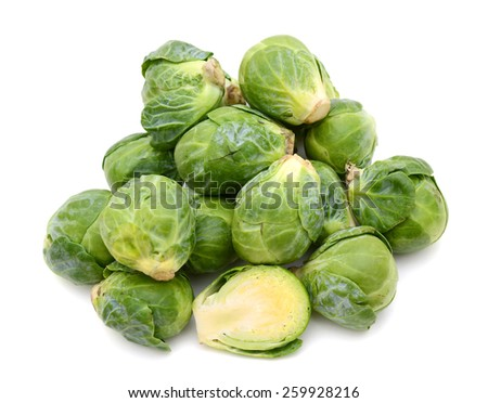 Isolated brussels sprouts on white