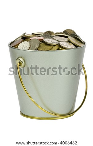 Isolated bucket full of coins over white - stock photo