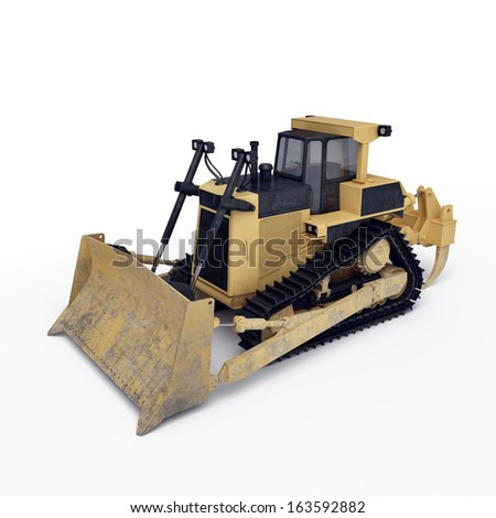 isolated bulldozer on the white background  - stock photo