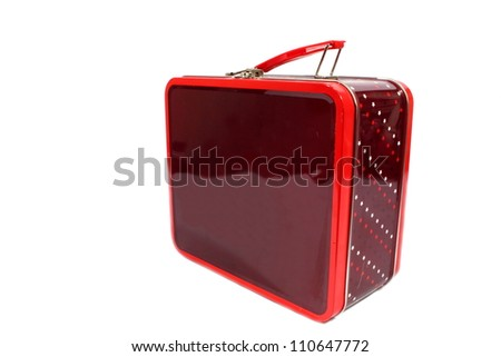 Isolated burgundy and red metal lunch box with a red metal handle.