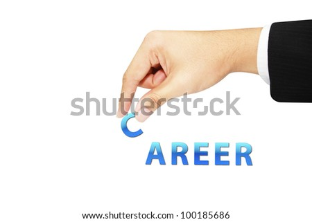 isolated business hand picking up career - stock photo