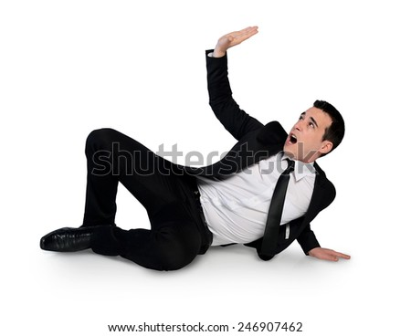 Isolated business man dodge something - stock photo