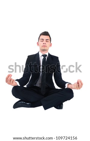 Isolated business man doing yoga