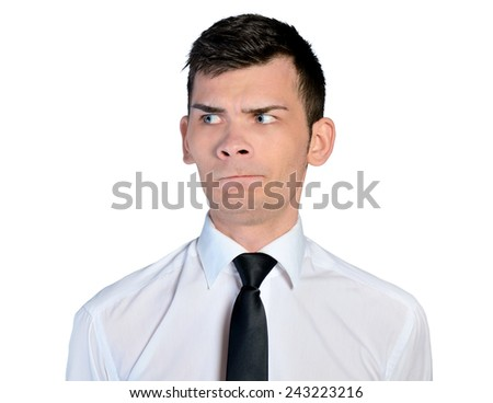Isolated business man doubtful face - stock photo