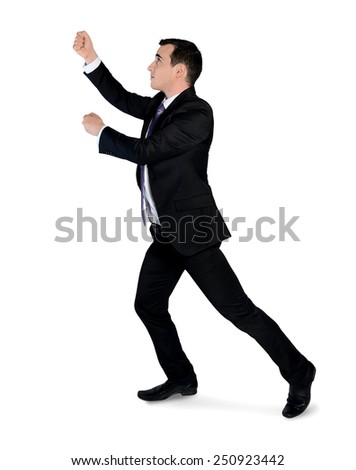 Isolated business man drag something - stock photo