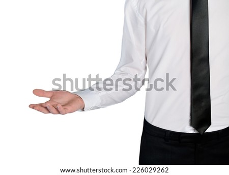Isolated business man empty hand - stock photo