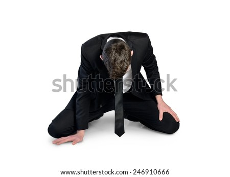 Isolated business man failure sit down - stock photo