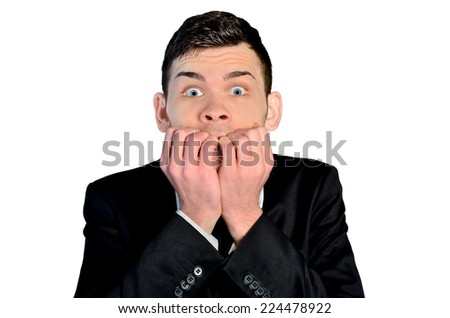 Isolated business man fear gesturing - stock photo