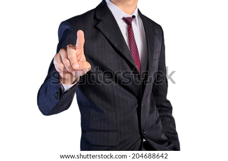 isolated business man finger pointing - stock photo