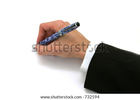 Isolated Business Man Hand with Pen - stock photo