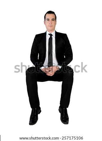 Isolated business man happy looking camera - stock photo