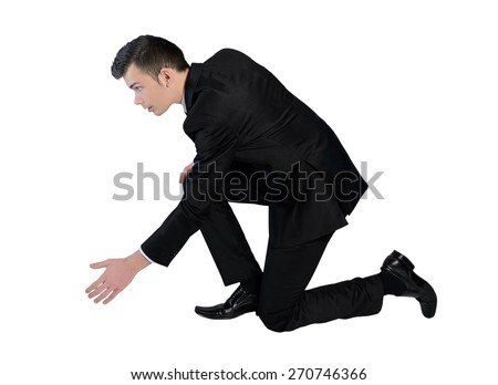 Isolated business man help hand - stock photo