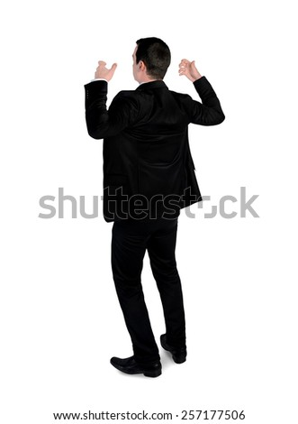 Isolated business man hold something - stock photo