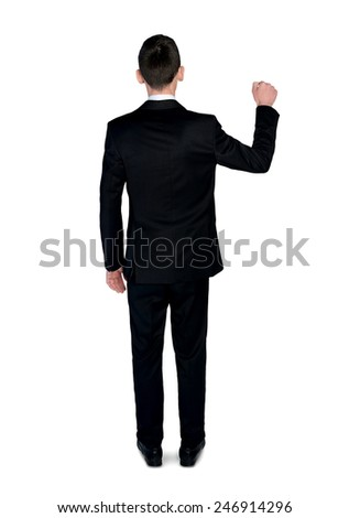 Isolated business man knock fist - stock photo