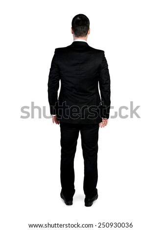 Isolated business man looking back - stock photo