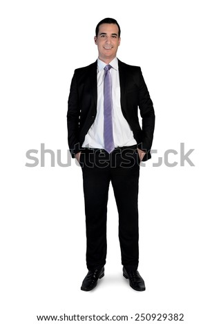 Isolated business man looking camera - stock photo
