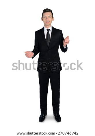 Isolated business man presenting something - stock photo