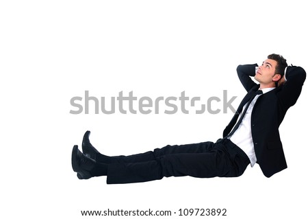Isolated business man relaxing on white - stock photo