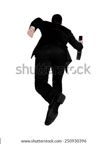 Isolated business man running away - stock photo