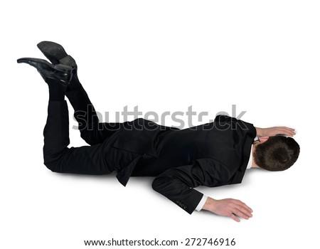 Isolated business man sleep position - stock photo