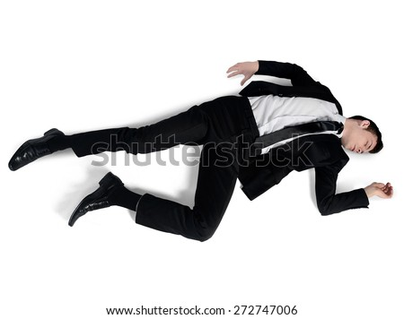 Isolated business man sleep position - stock photo