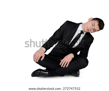 Isolated business man sleep sitting down