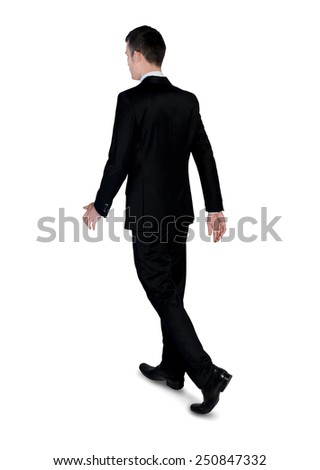 Isolated business man walk away - stock photo