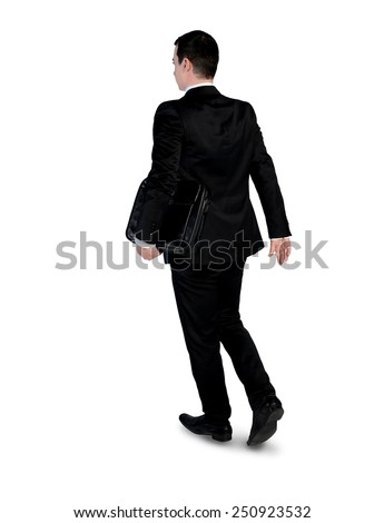 Isolated business man walk back - stock photo