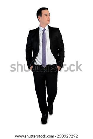 Isolated business man walk forward - stock photo