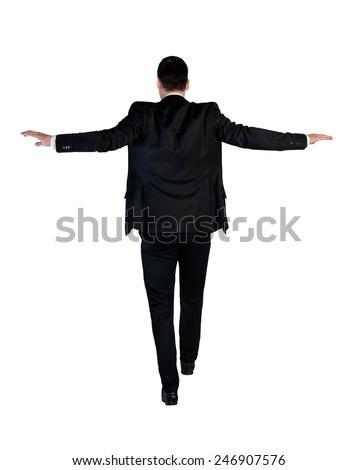 Isolated business man walk risky - stock photo