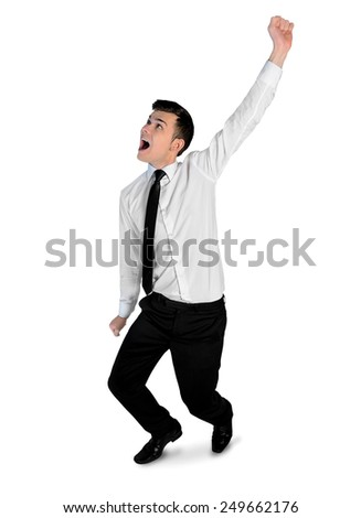 Isolated business man winner hand up - stock photo