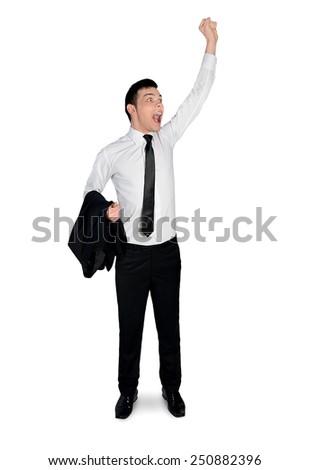 Isolated business man winner hand up - stock photo
