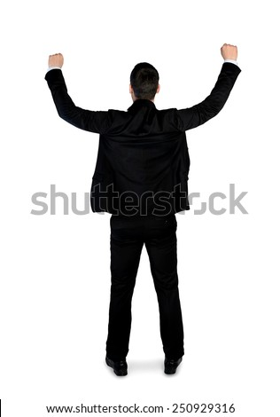Isolated business man winner hands up - stock photo