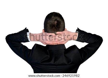 Isolated business man with hands on head