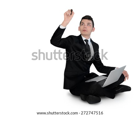 Isolated business man write something - stock photo
