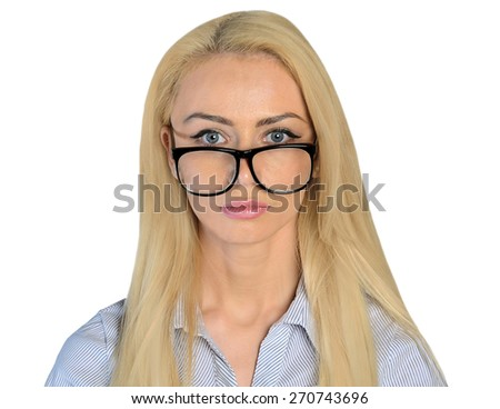 Isolated business woman dreaming face - stock photo
