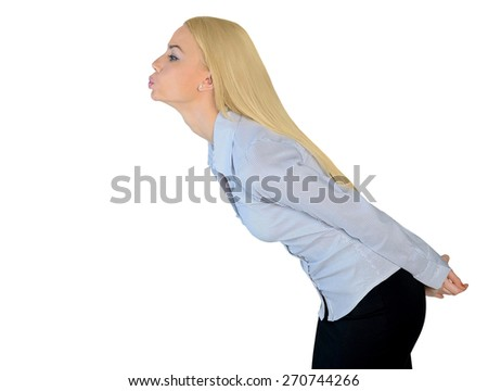 Isolated business woman kiss something side - stock photo
