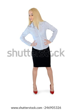 Isolated business woman looking down - stock photo