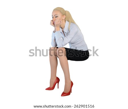 Isolated business woman sad thinking - stock photo