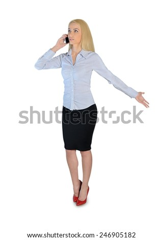Isolated business woman talk on phone - stock photo