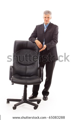 isolated businessman and chair - stock photo