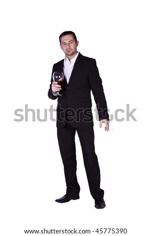 Isolated businessman celebrating with a glass of drink and a cigarette