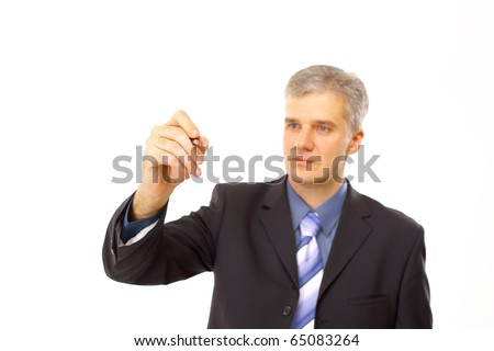 isolated businessman drawing in a transparent glas - stock photo