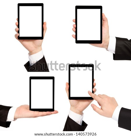 isolated businessman hand holding touch tablet computer - stock photo